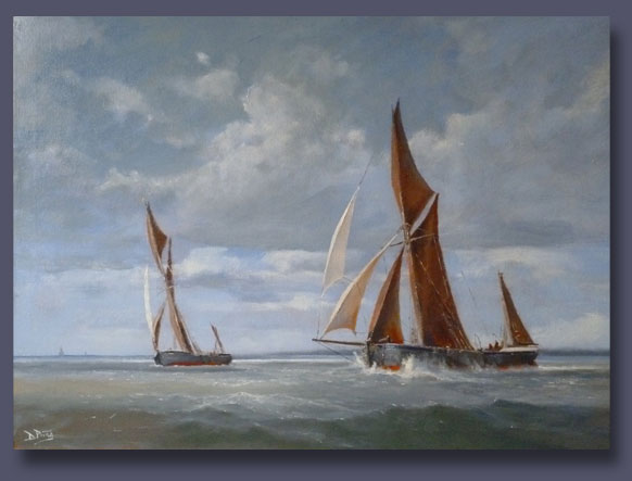 Barges Racing - Oil on Canvas